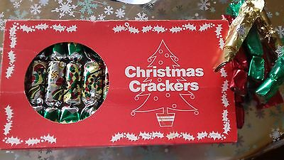 Vintage Christmas Crackers, Unused , complete in box 12 crackers + 7