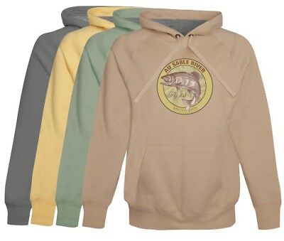 Au Sable River Fly Fishing Hoodie / Fleece -  soft cotton Mens Fly Fishing Gift