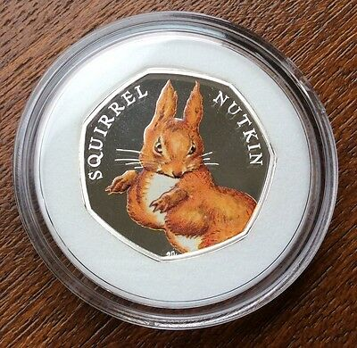 2016 Squirrel Nutkin Silver Proof Coloured 50p Coin Beatrix Potter Royal Mint