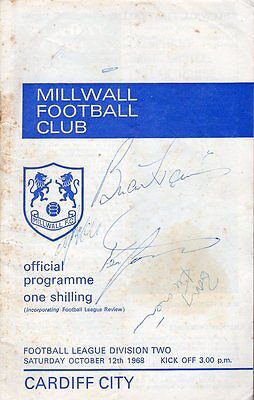 Millwall v Cardiff 12.10.1968 Signed by 5 inc Barry Kitchener & Keith Weller