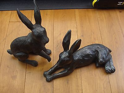 Next Pair of Hare Ornament Figurine x 2 Black / Silver Textured Finish
