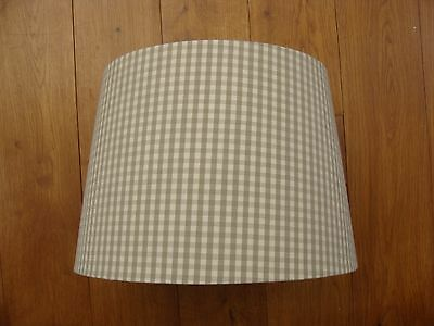 """Jim Lawrence Gingham Lamp Shade Natural Linen Beige Colour 8"""" High x 12"""" D"""