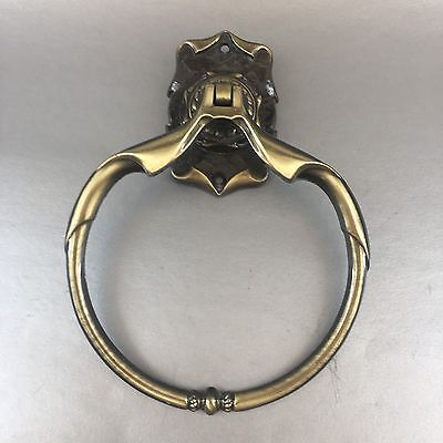 1 Of 2 Vintage Amerock Carriage House Bathroom Towel Ring Holder Antique Brass
