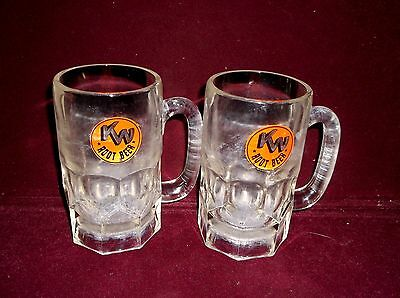 A Pair Vintage 1950s KN ROOT BEER Home of the Frozen Mug HEAVY GLASS 16 OZ MUGS