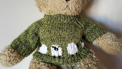 Hand Knitted Teddy Bear Jumper - Green with Row of Sheep - fits Build a Bear