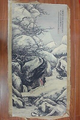 Large Rare Old Chinese Painting Landscape and Figures Marks