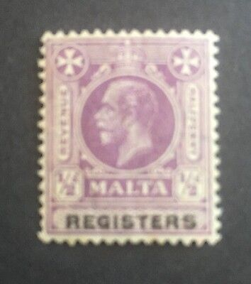Malta KGV Registers Stamp. MNH. 1/2d Purple.
