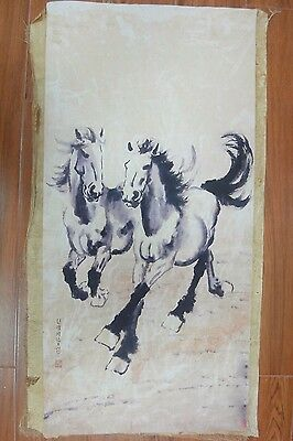 Large Rare Old Chinese Paper Painting Running Horses Marked XuBeiHong