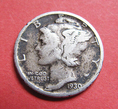 A 1930 USA silver dime (10 cents) coin