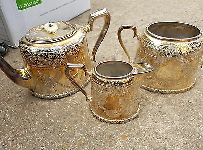 Used Silver/ plated Tea / coffee pot, sugar bowl and milk jug Art Deco Antique
