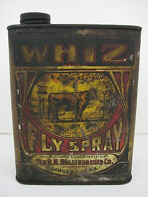Rare Antique WHIZ FLY SPRAY R.M. Hollingshead Company Quart Advertising Cow Can