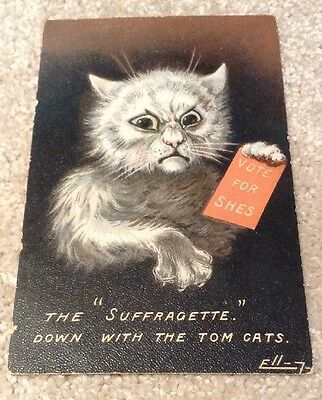 """Suffrage Postcard, Artist W.H.Ellam. """"THE SUFFRAGETTE"""" Down with the Tom Cats"""