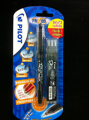 1 pen 3 refills Pilot FriXion ball 0.7mm erasable pen & refill BLACK ink
