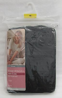 Ladies Marks And Spencer Black Thermal Short Sleeve Vests Pack Of 2 Size 16