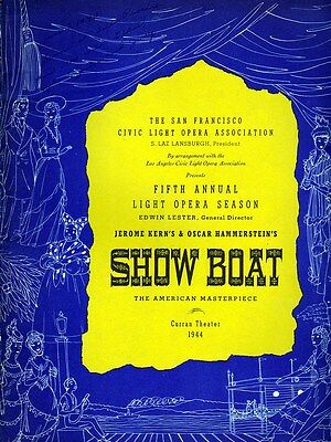 """""""Show Boat"""" Vintage Theater Program and Handbill, 1944, Near Mint Condition."""