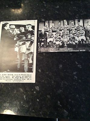 2 X Photographs - Hunslet From The 1934 Challenge Cup Final Win