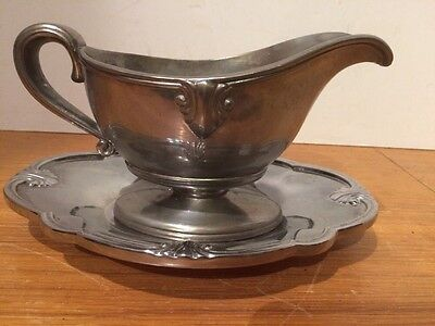 Pewter Gravy / Sauce Boat & Under plate by Lenox Circa 1970's  8 oz