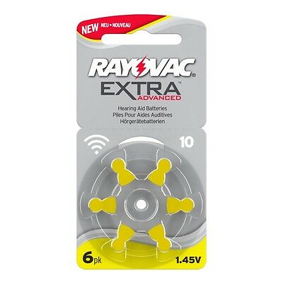 The very latest style 60 x NEW RAYOVAC SIZE 10 YELLOW TABS HEARING AID BATTERIES