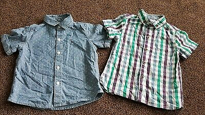 next baby boys shirts 12-18 1 year months denim checked smart holiday