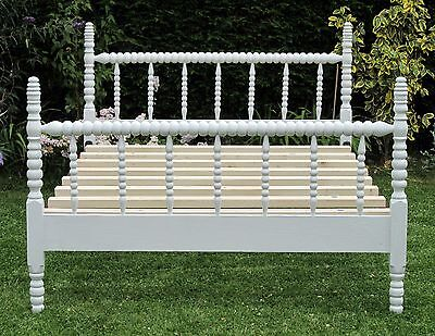 Antique Jenny Lind Painted Bobbin Double Bed with Pine Slat Base