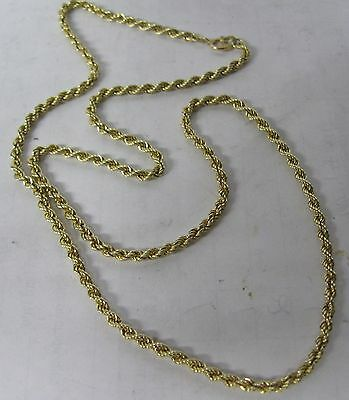 """14K Solid Gold 18"""" Rope Necklace 2.5Mm Chain"""