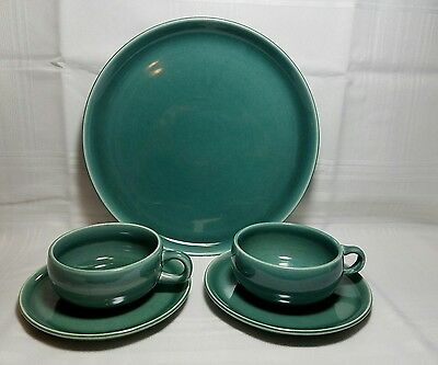 Vintage Russel Wright Jade Blue Dinner Plate And Two Flat Cups And Two Saucers