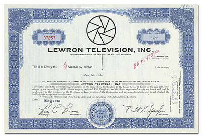 Lewron Television, Inc. Stock Certificate (Let's Make a Deal!)