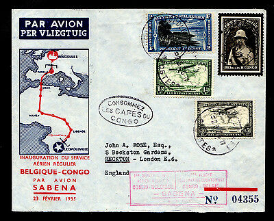 Belgian Congo First Flight Cover 2/23/35 Leopoldville - Brussels SABENA Airlines