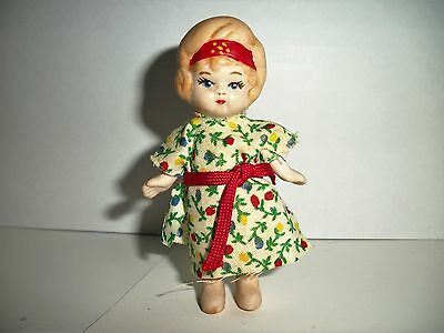"""Little Bisque Jointed Arms Flapper Doll ~ 3 1/8"""" tall"""
