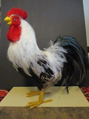 Full Size Rooster w/ Real Feathers, White & Black, abt 14X12