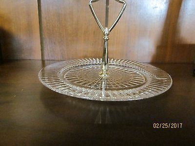 Etched  Glass Condiments Serving Plate/Dish With  Brass Handle