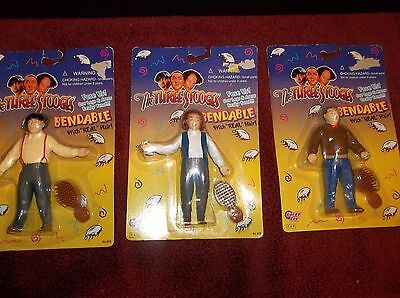 The Three Stooges Bendable Curly Larry Moe  Figure - New - Gordy Toy 1996