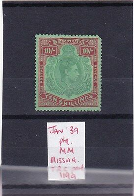 Bermuda 1938-1953 KGVI 10s Stamp (January 1939) SG119a MM (Missing Perf)