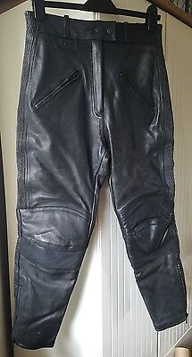 JTS X short leather motorbike trousers size GB 14