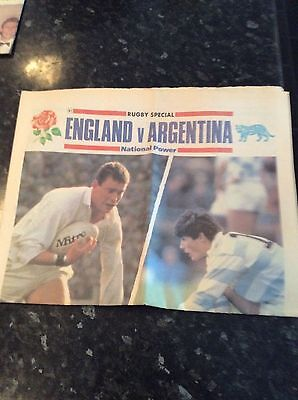 England Newspaper V Argentina 29.10.1990 Daily Telegraph 16 Pages