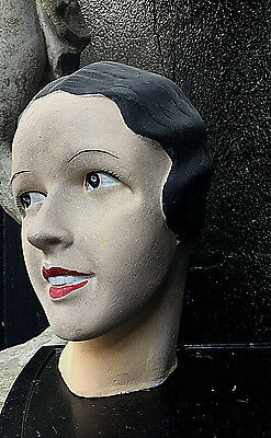 Antique/vintage French Art Deco Plaster Mannequin Head