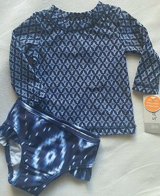 Carter's Infant Girl Navy 2 Piece Bathing Suit Shirt & Bottoms Size 3 Months