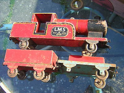 early very rare  lines bros TRI-ANG lms wooden train and wagons