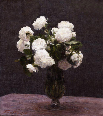 White Roses by Henri Fantin-Latour, Hand Painted Oil Painting Reproduction