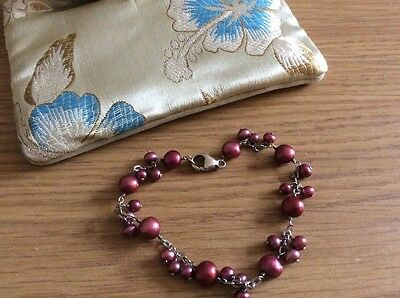 Honora cranberry pearl bracelet