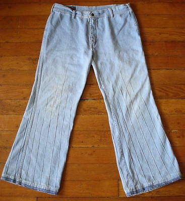 70s Vintage Womens Brittania Faded Denim Bell bottom Bell Bottoms Jeans 36x30