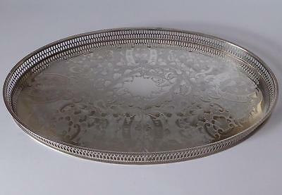 Vintage Viners Sheffield Alpha Plate, Oval Silver Plated Chased Gallery Tray