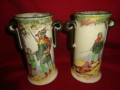 Royal Doulton A pair of Art Nouveau Under The Greenwood Tree Vases RARE SCENES!