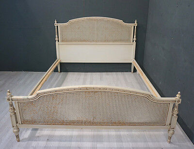 Vintage French King Bed / Louis XVI style Wicker Bed (BR321)