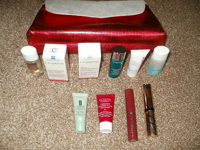 New make up bag with 10 mixed items,Clarins,Lancome,Clinique