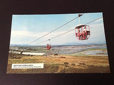 Vintage Butlins Pwllheli Chair Lift And South Camp Panorama Postcard.