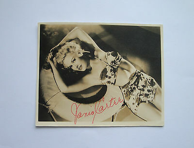 JANIS CARTER AUTOGRAPH SIGNED PHOTO GLAMOUR PIN UP GIRL BIKINI HOLLYWOOD 40s