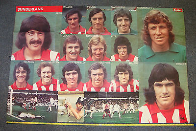 VINTAGE SUNDERLAND FC FOOTBALL CLUB POSTER X LARGE 1973 FA CUP BADGE SHIRT 70s