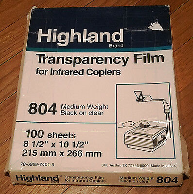 "Highland Transparency Film Infared Copiers 8.5""x10.5"" 100 Sheets Medium Weight"