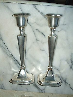 Pair Of Silver Candlesticks Hallmarked Chester 1902 - Makers  Clark & Sewell